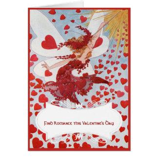 Valentinsgruß-Fee mit Schwarm der roten Herzen Karte