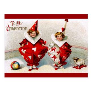 Valentinsgruß-Harlekine Postkarte