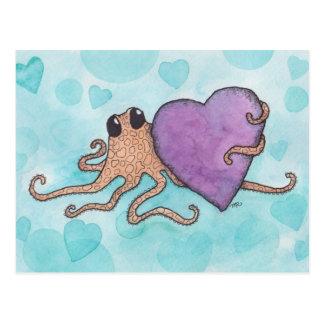 Valentinsgruß-Herz-Krake Postkarte