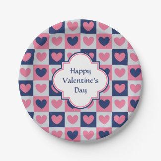 Valentinsgruß-Herz-Muster Pappteller