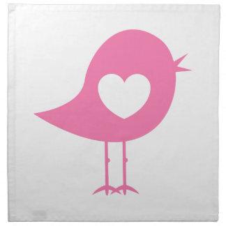 Valentinsgruß-Herz-Vogel Stoffserviette