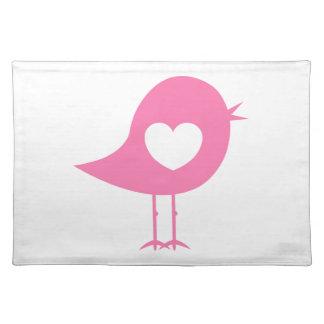 Valentinsgruß-Herz-Vogel Tischset