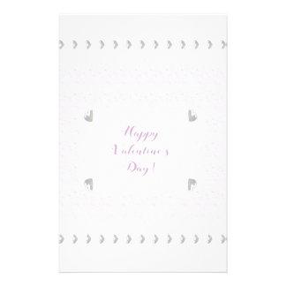 Valentinsgruß-Herzen und Spitze, Pastellrosa und Briefpapier