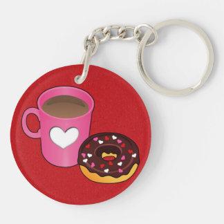 Valentinsgruß-Kaffee und Krapfen Schlüsselanhänger