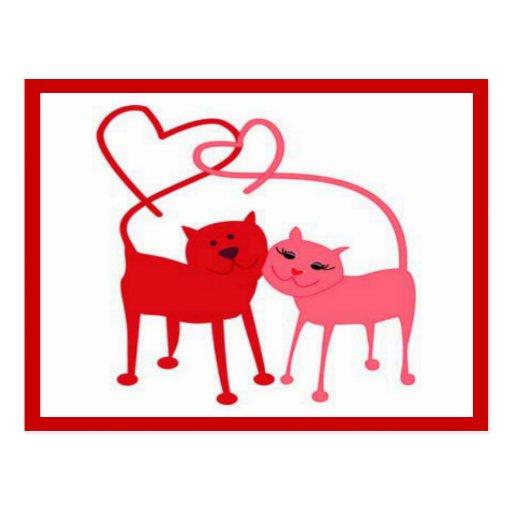 Valentinsgruß-Katzen-Postkarte