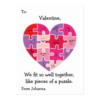 Valentinsgruß-Klassenzimmer kardiert Autismus-Herz Postkarte