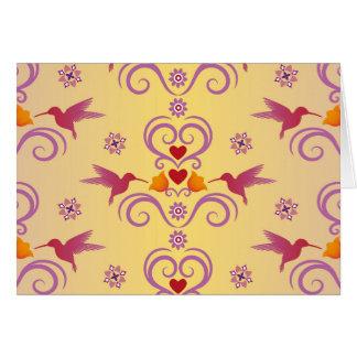 Valentinsgruß-Kolibris und Herzen Karte