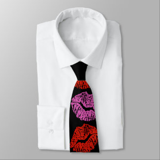 Valentinsgruß-rote rosa Lippenstift-Küsse Krawatte