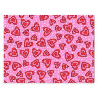 Valentinsgruß-rotes und rosa Herz-Muster Seidenpapier
