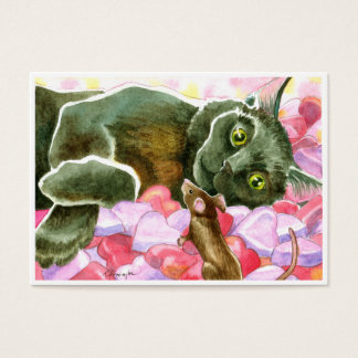 Valentinsgruß-schwarze Katzen-Doppeltes versah Visitenkarte