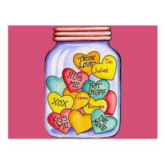 Valentinsgruß-Süßigkeits-Glas-Postkarte Postkarte