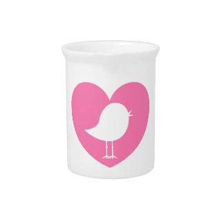 Valentinsgruß-Vogel-Herz Getränke Pitcher