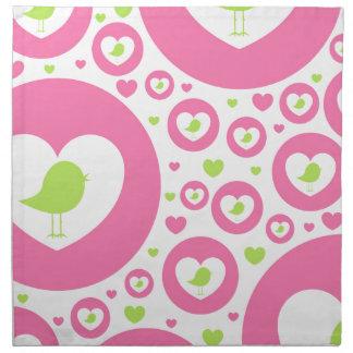 Valentinsgruß-Vogel-Herz-Muster Stoffserviette