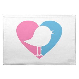 Valentinsgruß-Vogel-Herz Tischset