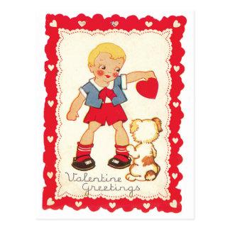 Valentinsgruß von einem Jungen und von seinem Hund Postkarte