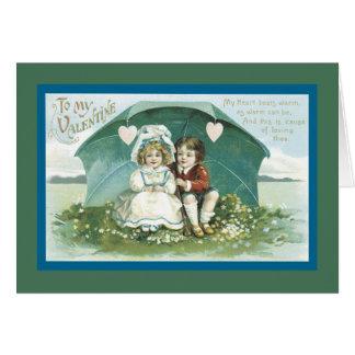 Valentinsgrüße unter einem Regenschirm Karte