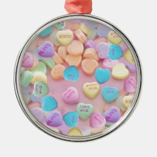 Valentinsgrußsüßigkeitsherzen Silbernes Ornament