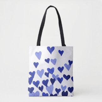 Valentinstag-Aquarell-Herzen - Blau Tasche