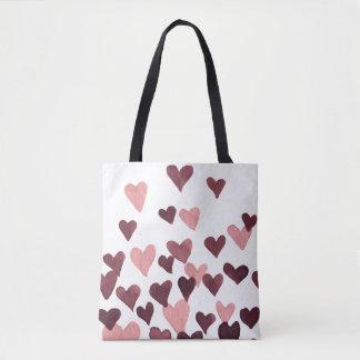 Valentinstag-Aquarell-Herzen - dunkles Rosa Tasche