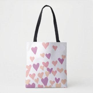 Valentinstag-Aquarell-Herzen - Pastellrosa Tasche