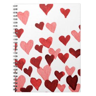 Valentinstag-Aquarell-Herzen - Rot Spiral Notizblock