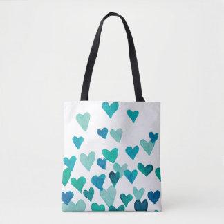 Valentinstag-Aquarell-Herzen - Türkis Tasche