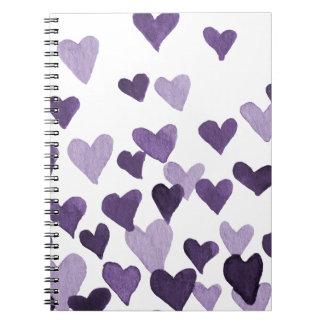 Valentinstag-Aquarell-Herzen - ultraviolettes Notizblock