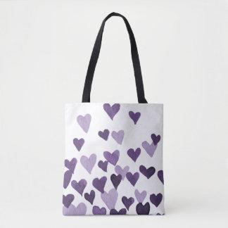Valentinstag-Aquarell-Herzen - ultraviolettes Tasche