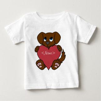 Valentinstag-Brown-Hündchen mit rotem Herzen Baby T-shirt