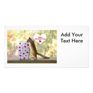 Valentinstag-Eichhörnchen Foto Grußkarte