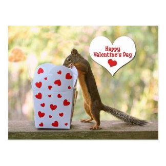 Valentinstag-Eichhörnchen Postkarte