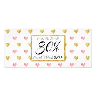 Valentinstag-Goldrosa-Herzen - Rabatt-Karte Werbekarte