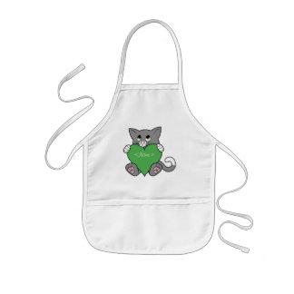 Valentinstag-graue Katze mit grünem Herzen Kinderschürze
