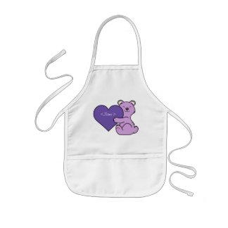 Valentinstag-hellpurpurner Bär - violettes Herz Kinderschürze