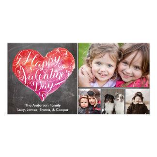 Valentinstag-Herz-Skript-Tafel Fotogrußkarten