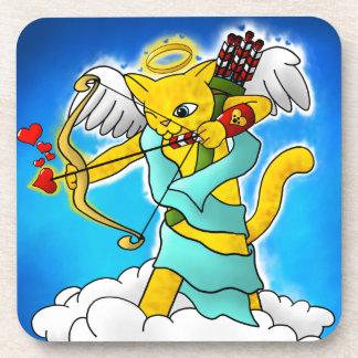Valentinstag-Ingwer-Gelb-Amor-Katze Getränkeuntersetzer