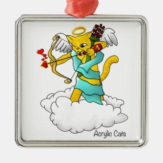 Valentinstag-Ingwer-Gelb-Amor-Katze Silbernes Ornament