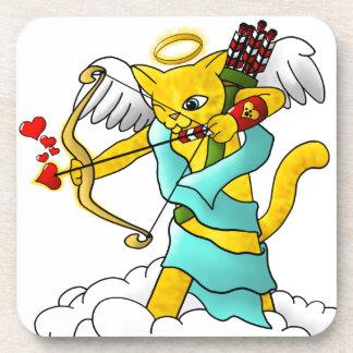 Valentinstag-Ingwer-Gelb-Amor-Katze Untersetzer