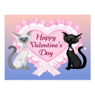 Valentinstag-Katzen-Postkarte Postkarte