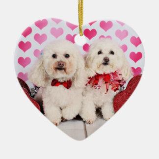 Valentinstag - Kirby u. Shelby - Pudel Keramik Herz-Ornament