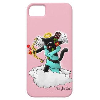 Valentinstag-Kohlen-Schwarz-Amor-Katze Etui Fürs iPhone 5