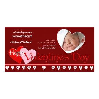 Valentinstag - neue Baby-Mitteilung Photokartenvorlagen