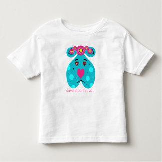 Valentinstag-oder Ostern-Blau-Häschen Kleinkinder T-shirt