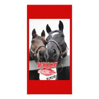 Valentinstag-Pferde Individuelle Photo Karte