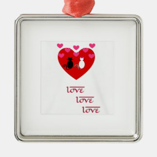 Valentinstag Quadratisches Silberfarbenes Ornament