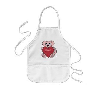 Valentinstag-rosa Hund mit rotem Herzen Kinderschürze