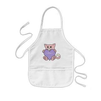 Valentinstag-rosa Katze mit hellpurpurnem Herzen Kinderschürze