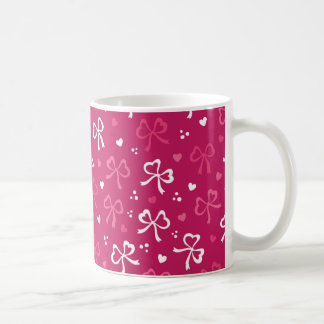 Valentinstag-rosarotes Band-Herz-Muster Kaffeetasse