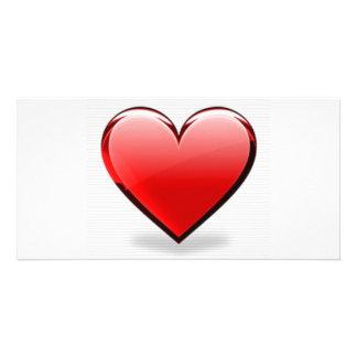 Valentinstag-Rot-Herz Individuelle Foto Karten