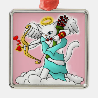 Valentinstag-Schneewittchen-Amor-Katze Silbernes Ornament